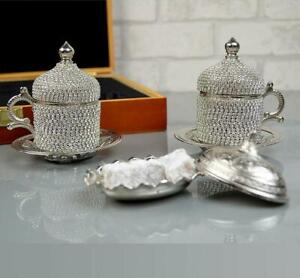 Luxury Coffee Set 2 Cups 1 Turkish Delight Traditional Copper Made In Turkey