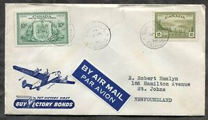 p727 - VANCOUVER 1946 Peace Issue FDC Cover to NEWFOUNDLAND Buy Victory Bonds ✉