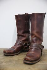 Frye Women's Brown Leather Harness Strap and Buckle Boots  7 M