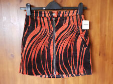 RRP $78 - FREE PEOPLE VELVET MINI SKIRT Black Orange Zebra Print UK 14 / 42 NEW