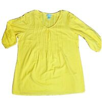 SOFT SURROUNDINGS Pintuck Gauze Pullover Tunic Top Size Large Yellow 100% Cotton