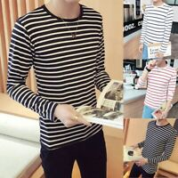 Men Fashion Summer Round Black White Stripe Long Sleeve Slim T-shirt Tops Blouse