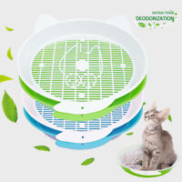 Sifting Cat Litter Pan Box Slotted Tray Kitten Cat Waste Toilet Easy Clean Blue