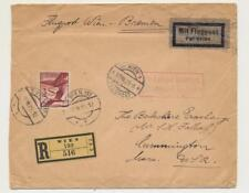 AUSTRIA TO USA AIRMAIL COVER, REGISTERED, FLUGPOST WIEN-BREMEN, 3s RATE