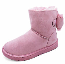 LADIES PINK FLAT FUR LINED PULL-ON COMFY WARM WINTER CASUAL SNUGG BOOTS UK 3-8