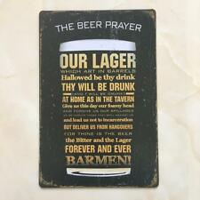 Vintage Style Metal Wall Sign Tin Plaque Retro Kitchen THE BEER PRAYER Decor