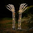 Halloween Outdoor Decorations, Lighted Skeleton Arms Stakes with 40 LED Warm