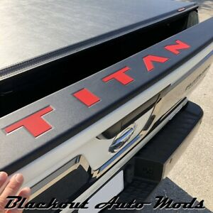 RED Letters for Nissan Titan Tailgate Guard ABS Plastic Inserts 2016 - 2021