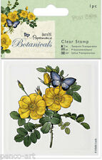 Papermania Botanicals 8x8cm clear post card stamp Flower 'Wild Rose' & Butterfly