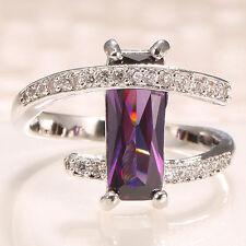 Women Fashion 925 Silver Princess Cut Alexdrite Ring Wedding Engagement Size5-11