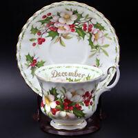 Vintage Royal Albert Bone China Tea Cup & Saucer Christmas Rose December