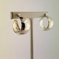 James Avery Retired Silver Hammered Bola Hoop Earrings