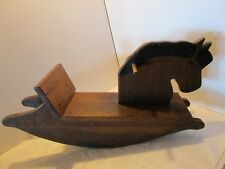 "Vintage Solid Oak Wood Rocking Horse Child Toddler Handmade Painted 29"" W Pony"