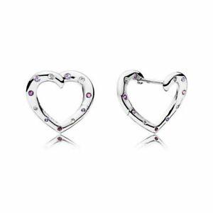 Authentic Pandora Bright Heart Hoops Earrings, 297231NRPMX