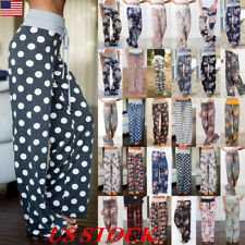 USA Womens Floral Casual Pants High Waist Wide Leg Loose Sport Palazzo Trousers