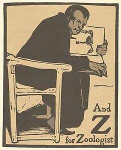 William Nicholson Woodcut Print 1898 Z for Zoologist Alphabet Lithograph 1975