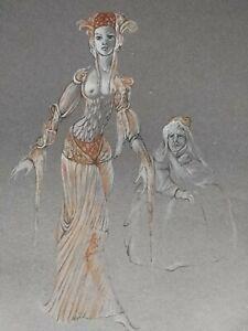 Original Lithograph, hand signed by Leonor Fini! Theater Scene