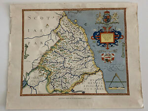 Vintage Saxton's Map Of Northumberland 1576 Lithograph & Hand Coloured