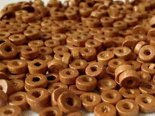 250 RUSTY BROWN COLOUR ROUND FLAT SHAPE WOOD BEADS 8 mm = W0020