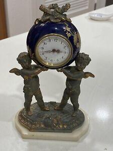 Antique French Figural Desk Ormolu Metal Cherub Mantle Clock Porcelain Runs