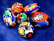 6 antique/vintage Venetian/Murano end-of-day lampwork millefiore glass beads