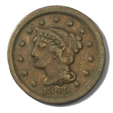 USA Large Cent Braided Hair 1c 1849  Very Fine Newcomb 7