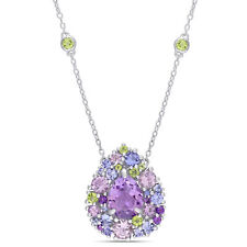 Amour Sterling Silver Tanzanite,Rose de France,Peridot & Amethyst Necklace