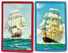 PAIR VINTAGE SWAP CARDS c1960s. SAILING SHIPS. HOYLE KENT. MARITIME ART. MINT