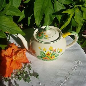 Art Deco Vintage English china Adderley teapot hand-painted floral autumn shades