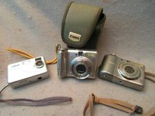 Three Working Digital Cameras Canon Largan with Cards & Case