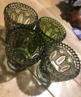 Set Of 4 Green Glass Votive Candle Holders