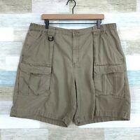 "Columbia Cliff Lakes Cargo Shorts 7"" Dark Beige D Ring Cotton UPF Hiking Mens 40"