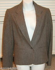 GREY WOOL PINSTRIPE Size 10 WOMENS Suit Jacket Blazer J H Collectibles Free Ship
