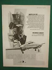 8/69 PUB SWEARINGEN AIRCRAFT SAN ANTONIO TEXAS MERLIN IIB GARRETT AIRESEARCH AD