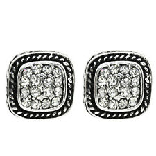 10mm Silver Color Square Shape with White Crystals Earring Studs
