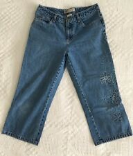 Denim Capris with Floral Embroidery Faded Glory Ladies Size 10