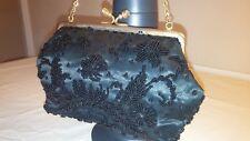 Vtg Original 50s Contessa Francesc Black Duchess Satin Beaded Evening Hand Bag..