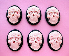 6 PINK SUGAR SKULL on BLACK Goth Emo Dia de los Muertos 40mm x 30mm craft CAMEOS