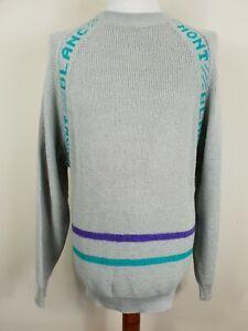Vintage Skien Grey Acrylic Wool Crew Neck Mont Blanc Jumper -M- PH98