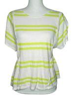 Postmark  Peplum Top Yellow White Stripe Medium Linen Blend Women's Blouse