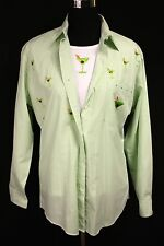 Get Lucky Green White Stripes Martini Embroidered Blouse T-Shirt Set - Med