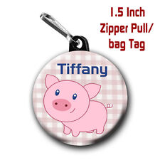 Pig Zipper Pull/Bag Tags Two Personalized Charms with Name of choice