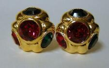 Big & Bold!!! Vintage CINER Bright Crystal Rhinestone Gold Plated Clip Earrings
