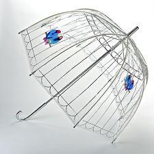 Lulu Guinness Designer Clear Ladies Birdcage Umbrella - Lovebirds