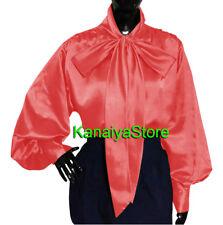 Salmon - Vintage style Women Satin long sleeve Bow Blouse High Neck Shirt