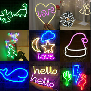 Love Night Light LED Neon Signs USB/Battery Wall for Home Decor Party Bedroom