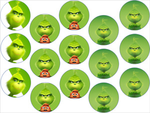 THE GRINCH INSPIRED 15 x 2'' ROUND EDIBLE WAFER / ICING CUPCAKE TOPPERS