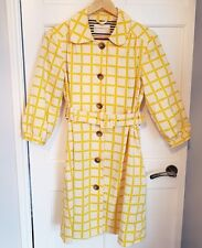 Orla Kiely Olive and Orange Womens Mac Jacket Coat Print Yellow Cream Size 10
