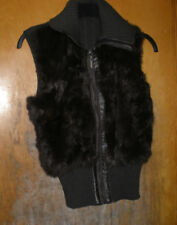 Jennyfer J Brown Real Rabbit Fur Zip Front Vest with Knit Back Size Medium
