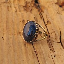 Blue Sandstone Gemstone Rock Ring Antique Brass Gold Anti Tarnish Gift Boxed